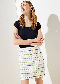 LOFT Striped Boucle Shift Skirt