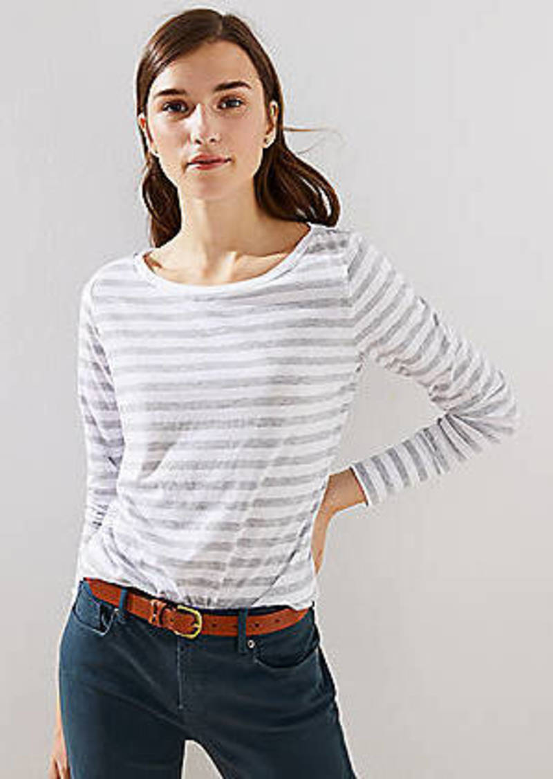 LOFT Striped Button Cuff Long Sleeve Tee