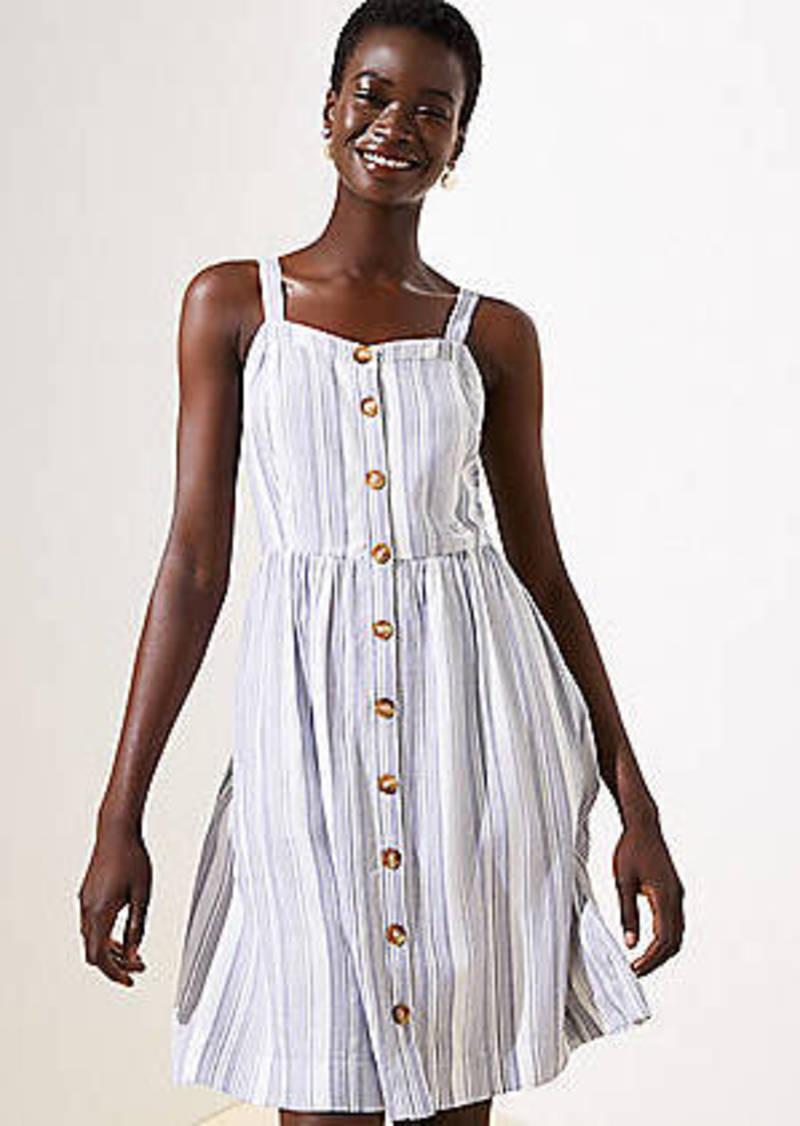 LOFT Striped Button Down Flare Dress