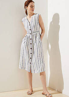 LOFT Striped Button Down Pocket Dress