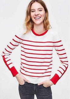 LOFT Striped Button Sleeve Sweater