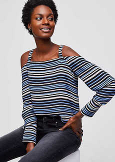 LOFT Striped Cold Shoulder Blouse
