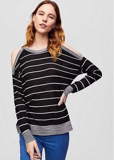 LOFT Striped Cold Shoulder Sweater