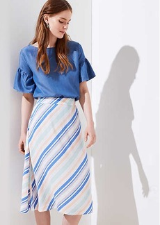 LOFT Striped Covered Button Skirt