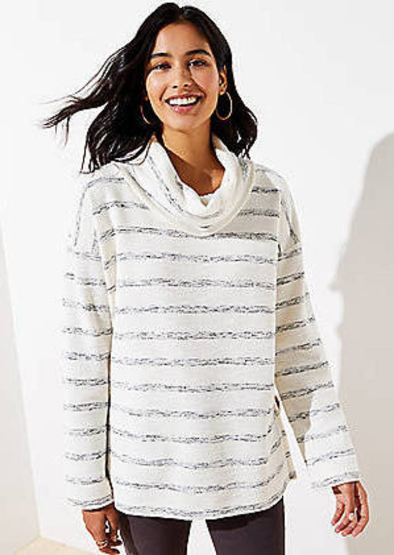 LOFT Striped Cowl Neck Top