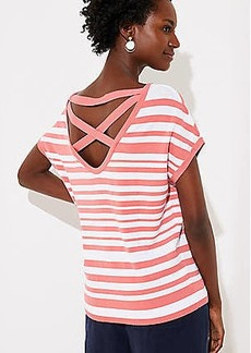 LOFT Striped Criss Cross Back Dolman Sweater