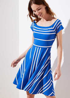 Striped Crossover Back Flare Dress