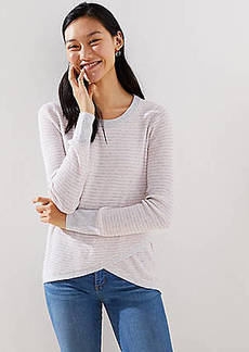 LOFT Striped Crossover Hem Top