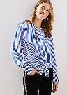 LOFT Striped Crossover Yoke Shirt