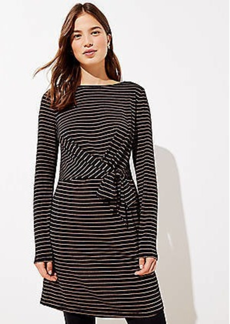 LOFT Striped Cuffed Tie Waist Dress