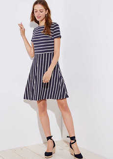 LOFT Striped Cutout Back Flare Dress