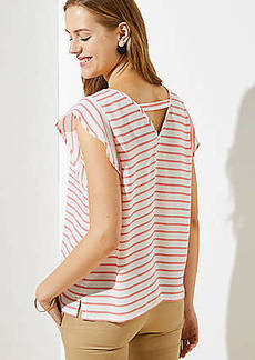 LOFT Striped Cutout Back Flutter Top