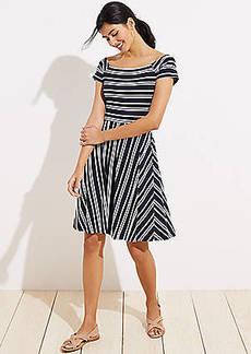 LOFT Striped Wrap Back Flare Dress