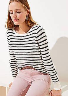 LOFT Striped Diamond Textured Sweater