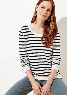 LOFT Striped Double Scoop Neck Sweater