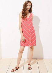 LOFT Striped Double V Sleeveless Swing Dress