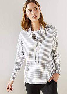 LOFT Striped Drawstring Cowl Neck Top