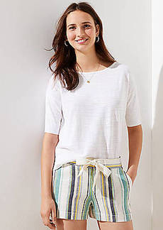 LOFT Striped Drawstring Shorts