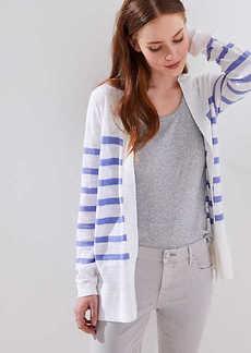 LOFT Stripe Textured Open Cardigan