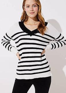 LOFT Striped Drop Shoulder V-Neck Sweater