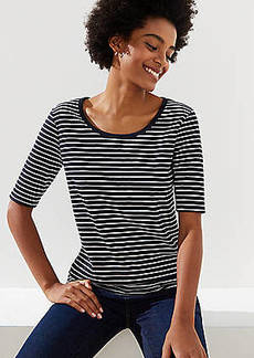 LOFT Striped Elbow Sleeve Tee