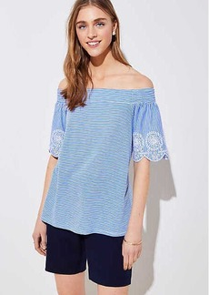 LOFT Striped Eyelet Off The Shoulder Tee