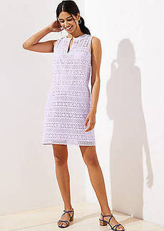 LOFT Striped Eyelet Shift Dress