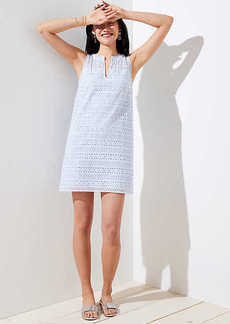 Striped Eyelet Shift Dress