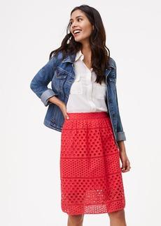 Striped Eyelet Skirt