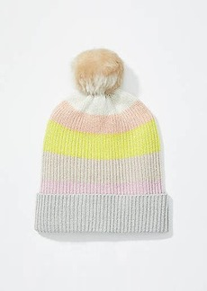 LOFT Striped Faux Fur Pom Pom Hat