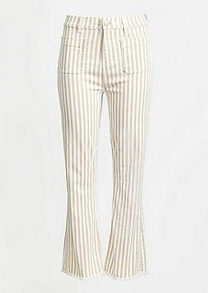LOFT Striped Flare Crop Jeans in White