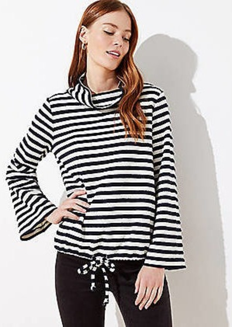 LOFT Striped Flare Sleeve Sweatshirt