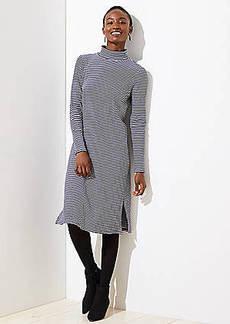 LOFT Striped Mock Neck Dress