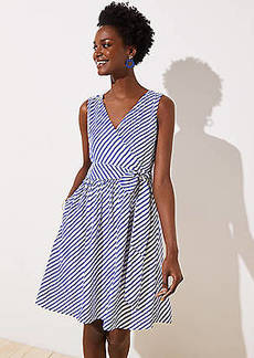 LOFT Striped Flare Wrap Dress