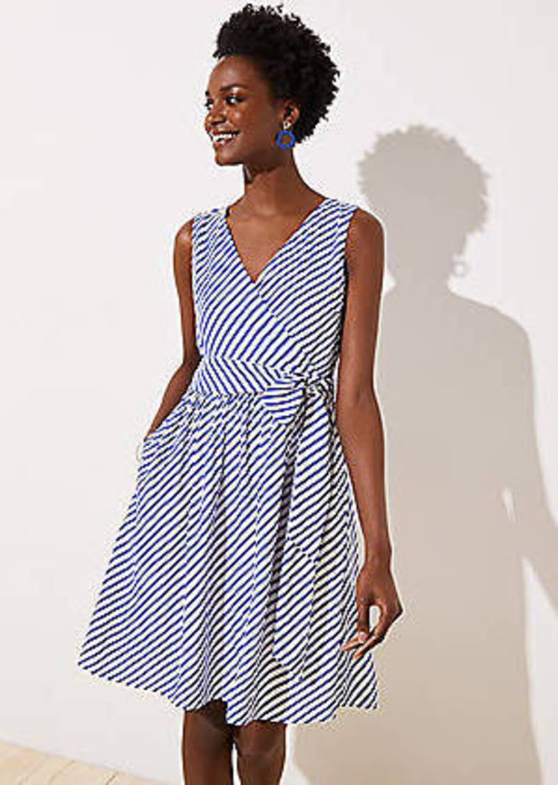 LOFT Striped Flare Wrap Dress