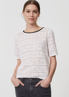 Striped Floral Lace Tee