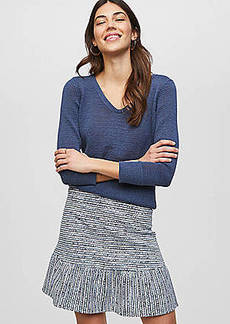 LOFT Striped Flounce Pull On Skirt