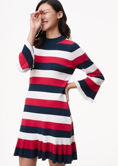 Striped Flounce Sweater Dress