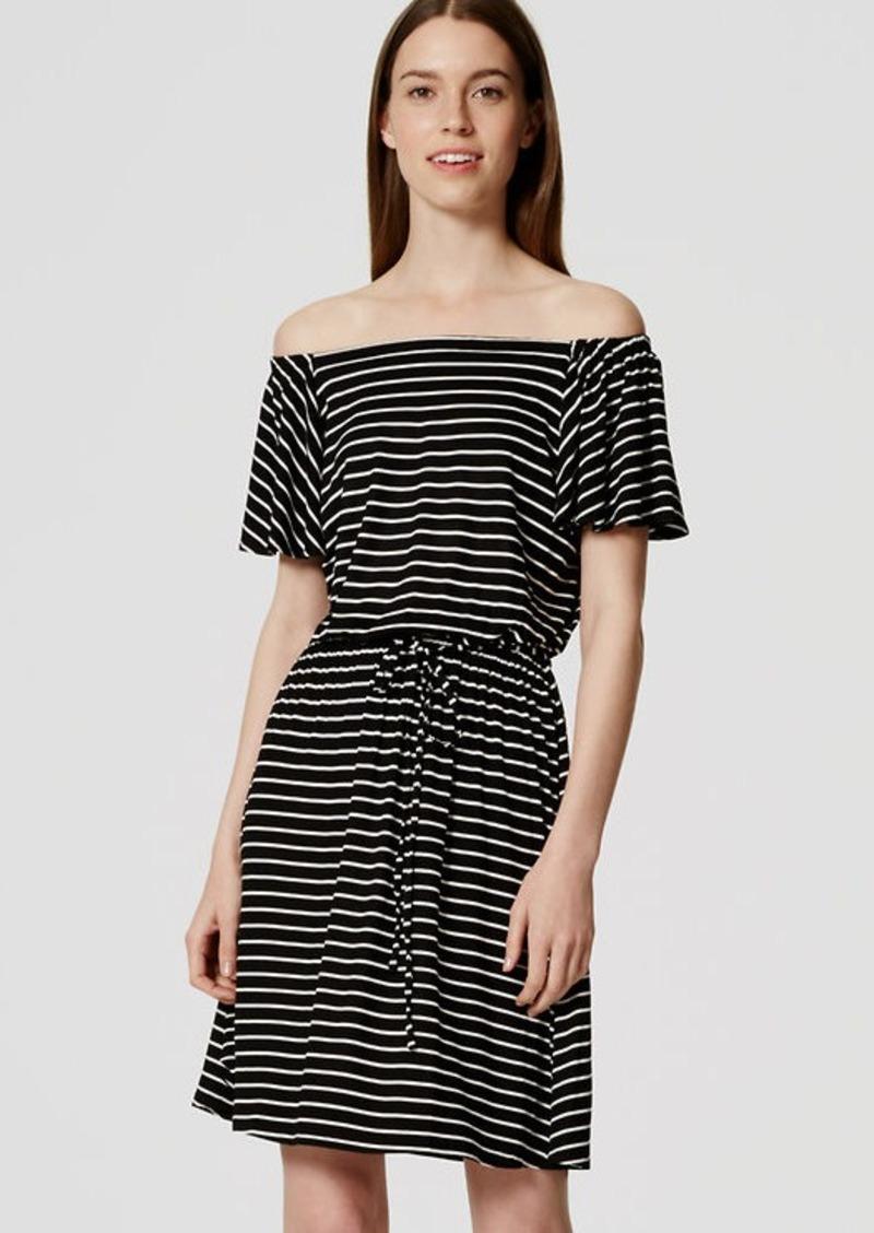 LOFT Striped Flutter Blouson Dress