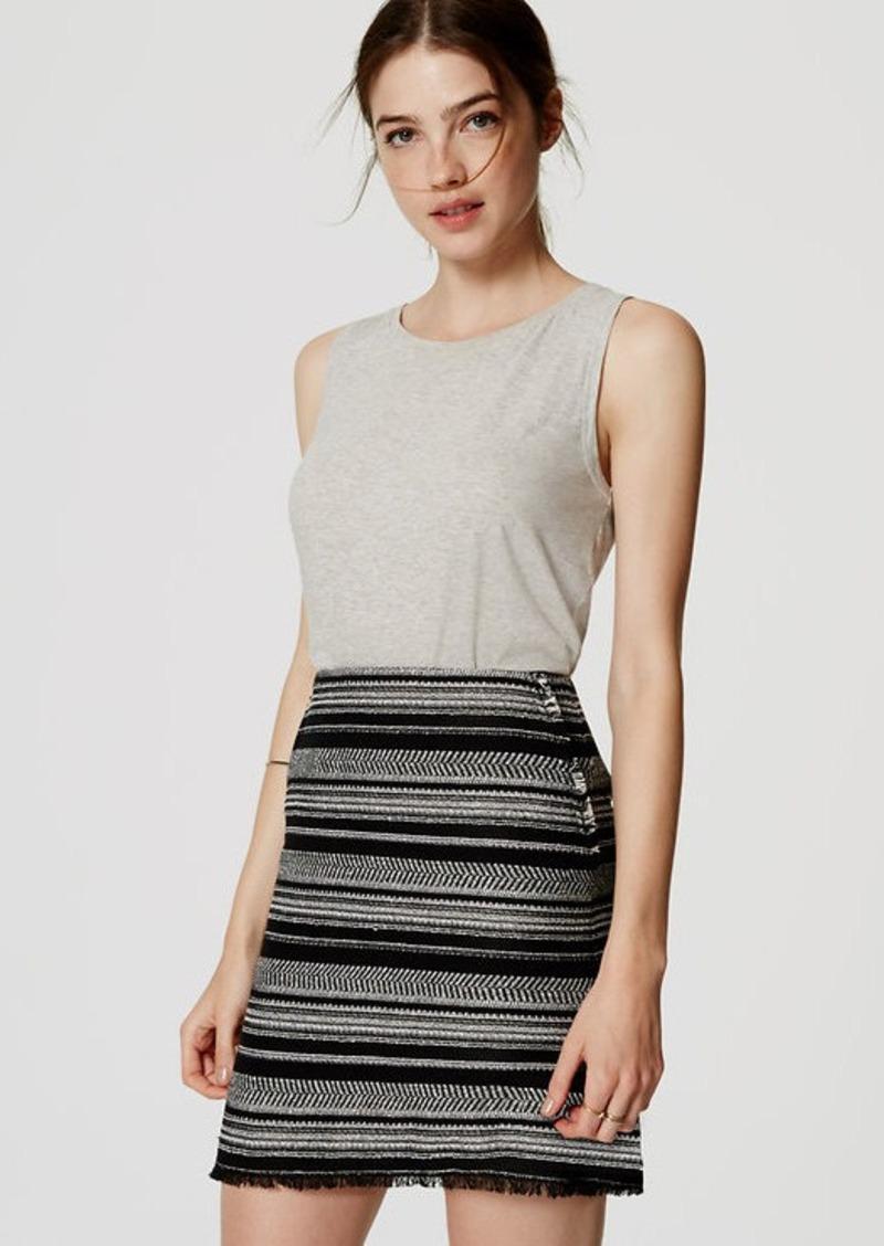 LOFT Striped Fringe Skirt