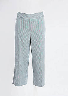 LOFT Striped High Waist Wide Leg Crop Pants