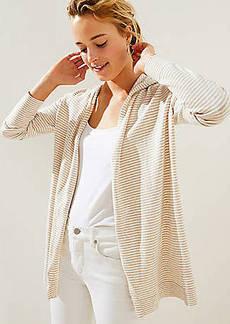 LOFT Striped Hoodie Open Cardigan