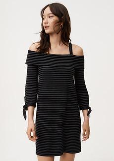 Striped Knit Cold Shoulder Dress