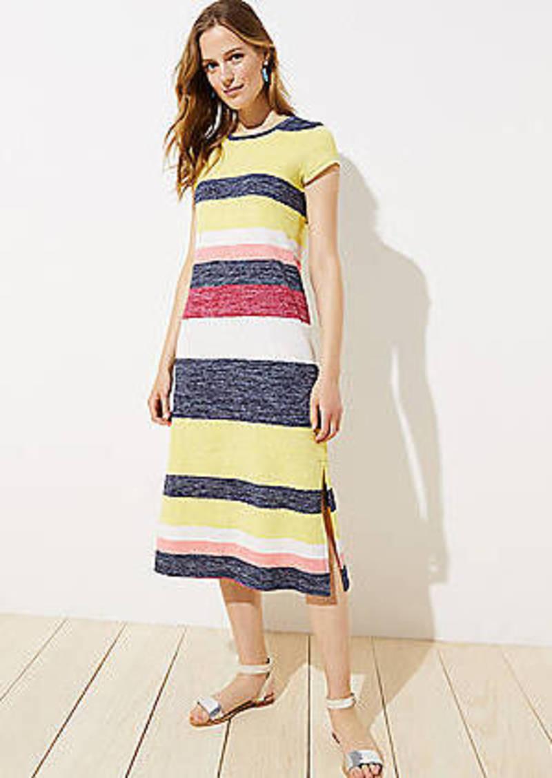 LOFT Striped Knit Midi Dress
