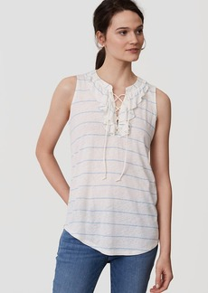 Striped Lace Up Ruffle Shell