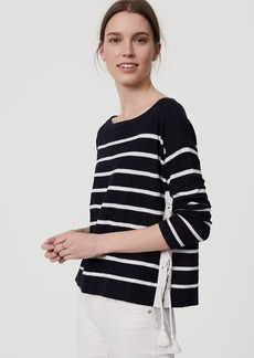 LOFT Striped Lace Up Side Sweater
