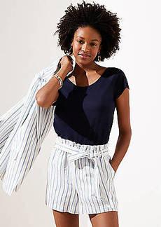 LOFT Striped Linen Blend Tie Waist Shorts