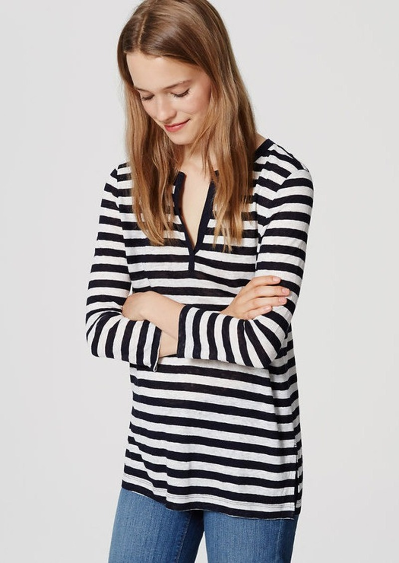 LOFT Striped Linen Split Neck Tee