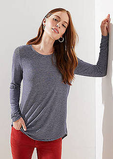 LOFT Striped Long Sleeve Tunic Tee