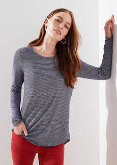 LOFT Striped Long Sleeve Shirttail Tee